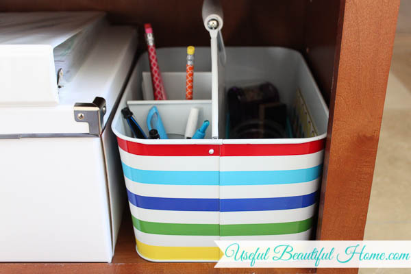 Slide all the homeschool essentials on the shelf when finished