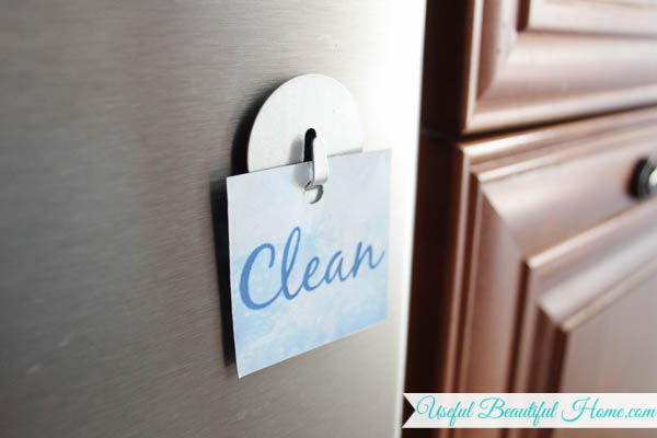 Clean or dirty dishes printable for the dishwasher machine!