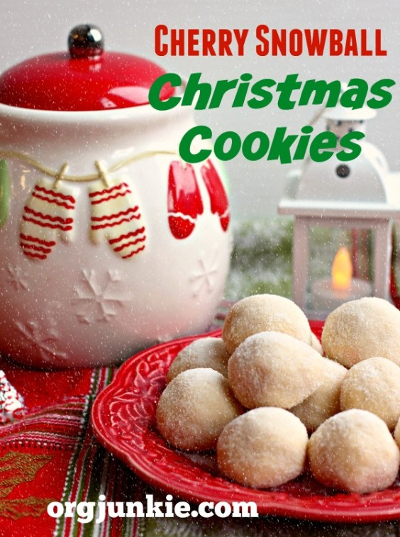 Cherry Snowball Christmas Cookies recipe at orgjunkie.com