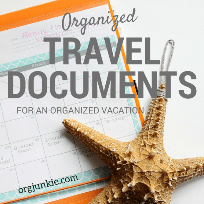 Organized Vacation Travel Documents