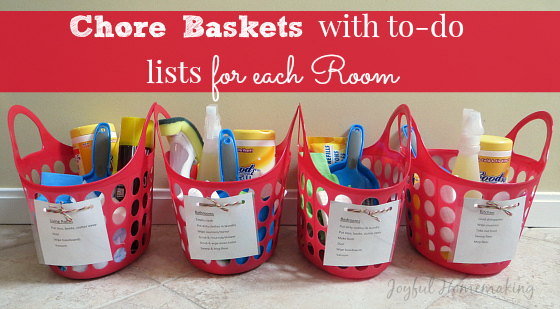 chore baskets with to do lists