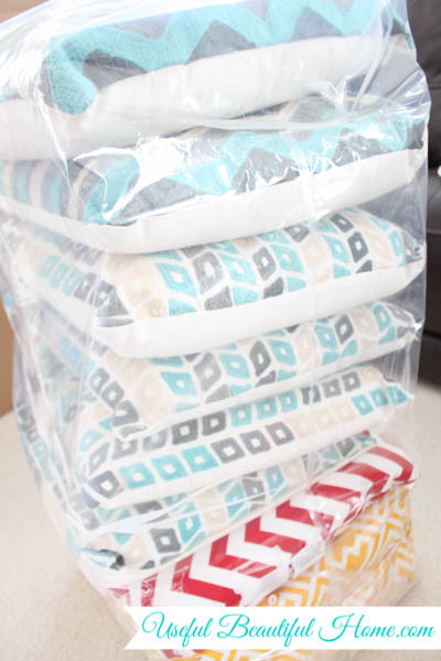 Stack of pillows take up too much space when moving