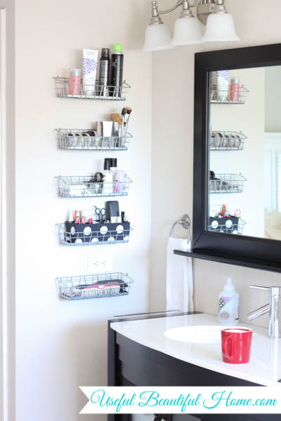 Inexpensive bathroom storage organization