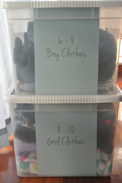 organized kids' clothes