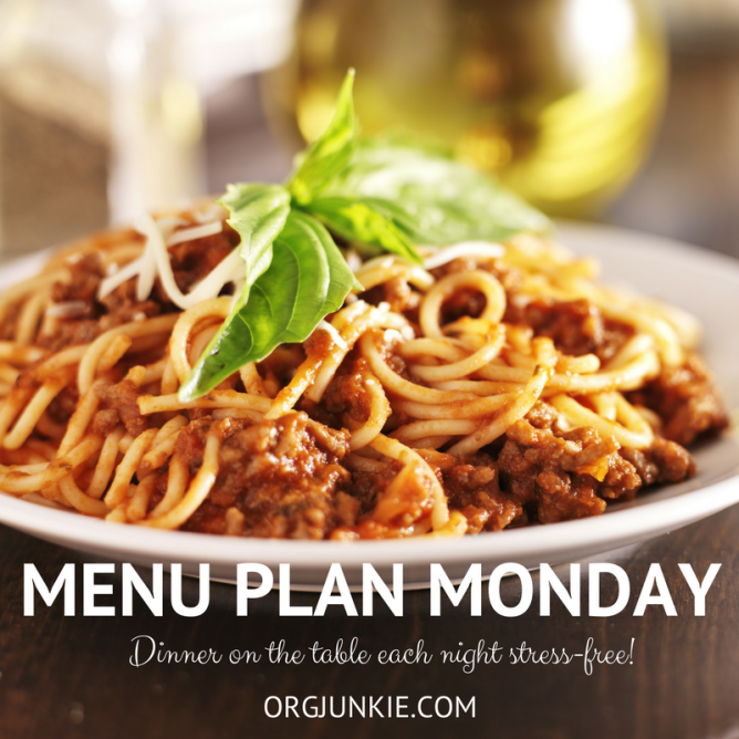 Menu Plan Monday for the week of October 17/16 - recipe links and menu planning inspiration to make dinner time stress and chaos free at I'm an Organizing Junkie
