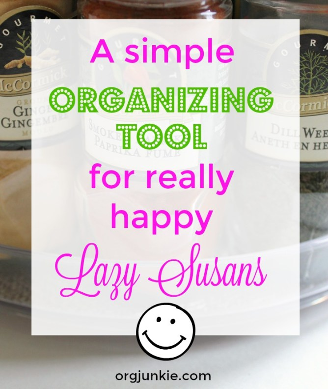 a simple organizing tool for really happy lazy susans in the kitchen at I'm an Organizing Junkie blog