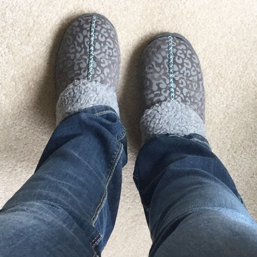 slippers and blue jeans