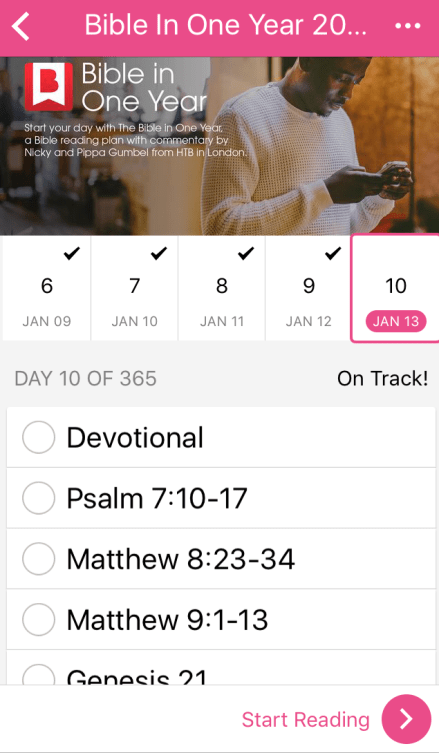 Daily 2017 Commitments: Reading Bible App
