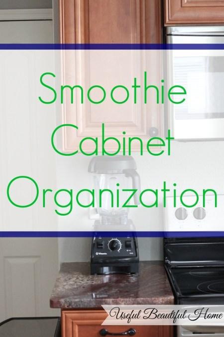 Quick Kitchen Organizing Tip: Smoothie Cabinet Organization at I'm an Organizing Junkie blog