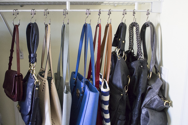 Easy and inexpensive way to organize all your purses at I'm an Organizing Junkie blog
