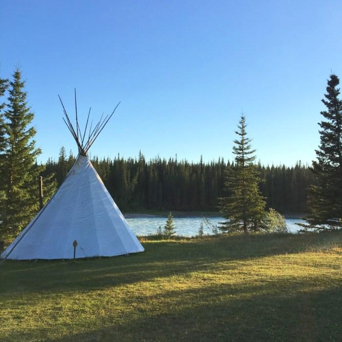 Teepee camping in Jasper Alberta Canada