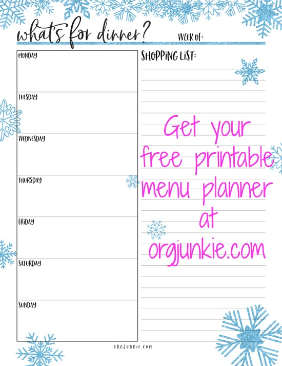 Menu Plan Monday  Jan  Free Printable Menu Planner