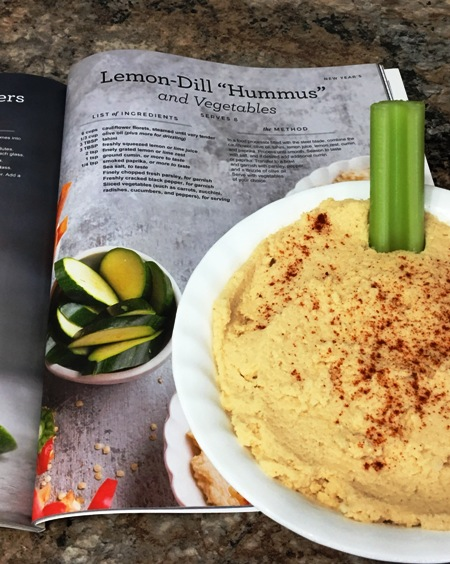 Lemon-Dill Hummus made with cauliflower