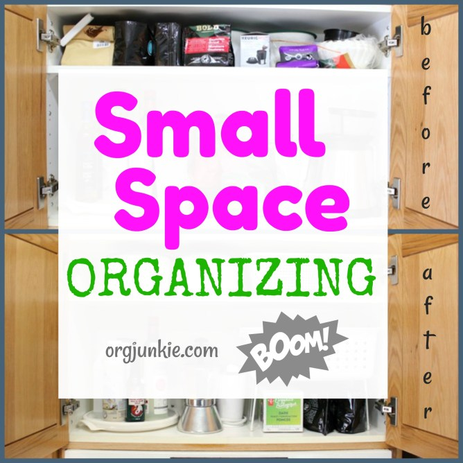 Small Organized Spaces: Coffee Cabinet at I'm an Organizing Junkie blog