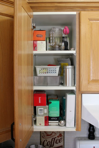 Small Organized Spaces: Tea Cabinet at I'm an Organizing Junkie. Function first always!