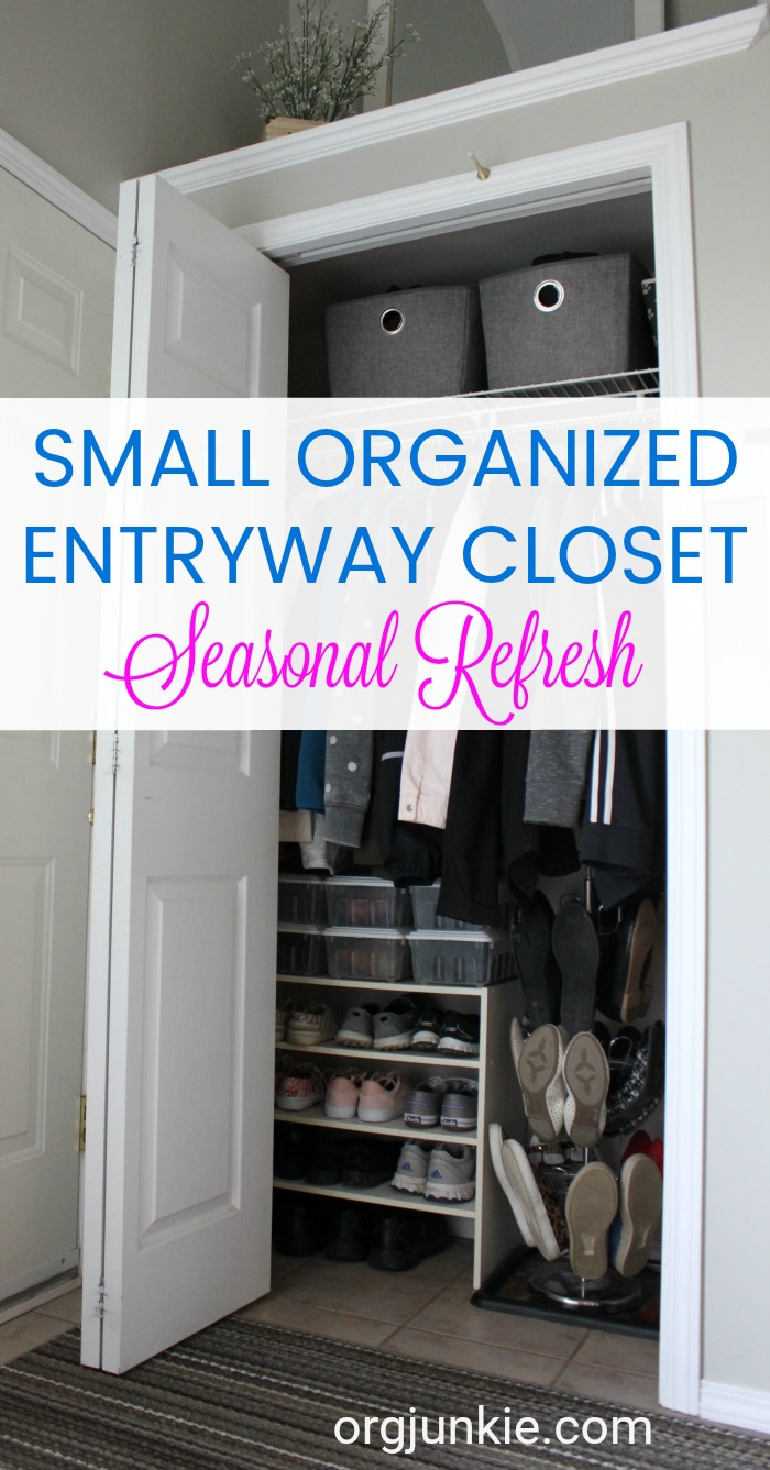 Small Organized Entryway Closet - Seasonal Refresh at I'm an Organizing Junkie