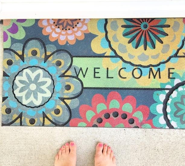 fun floral welcome mat
