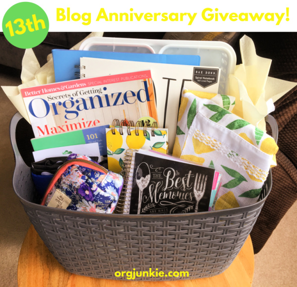 13th year blog anniversary giveaway at I'm an Organizing Junkie blog!