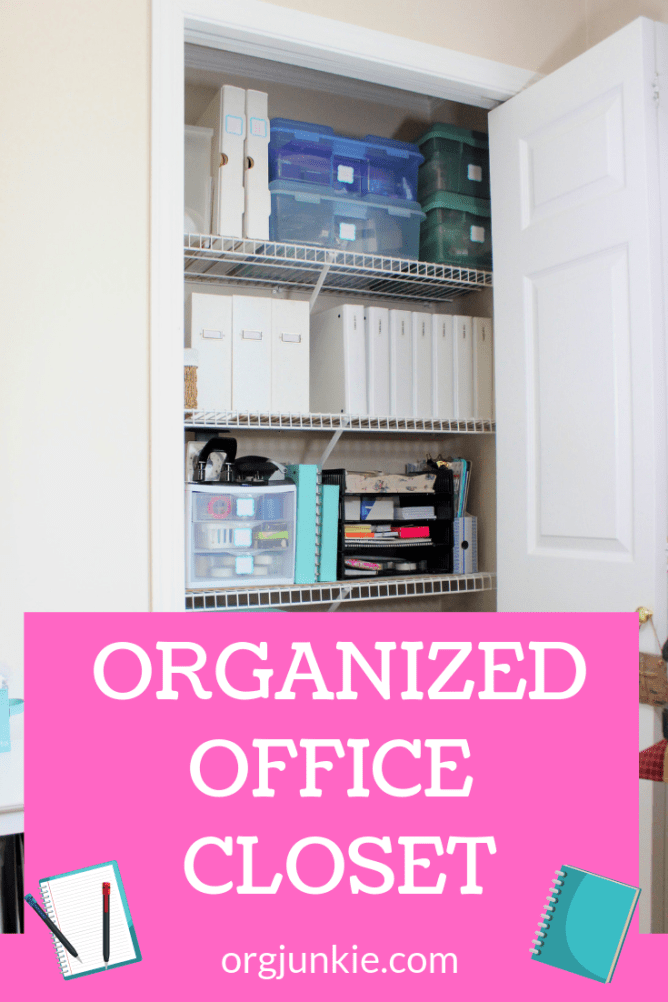 My Organized Office Closet ~ A Home for Everything at I'm an Organizing Junkie blog