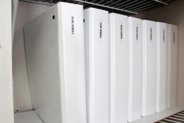 My Organized Office Closet - tax binders