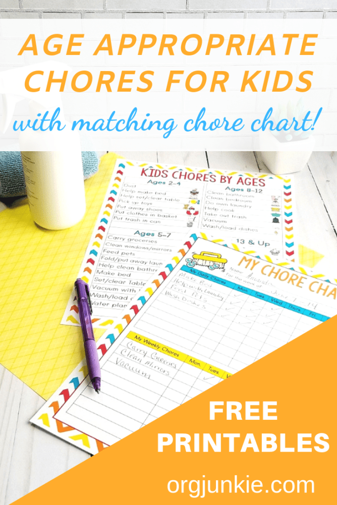 Agre appropriate chores for kids with a free printable chore chart at I'm an Organizing Junkie blog