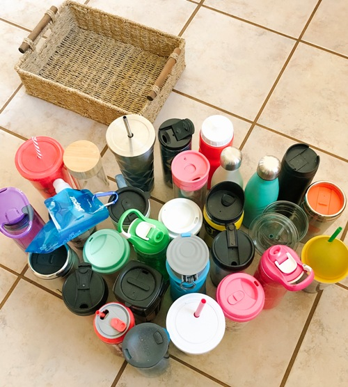 Small Organized Spaces: A Quick Organizing Fix for Reusable Water Bottles & Travel Mugs