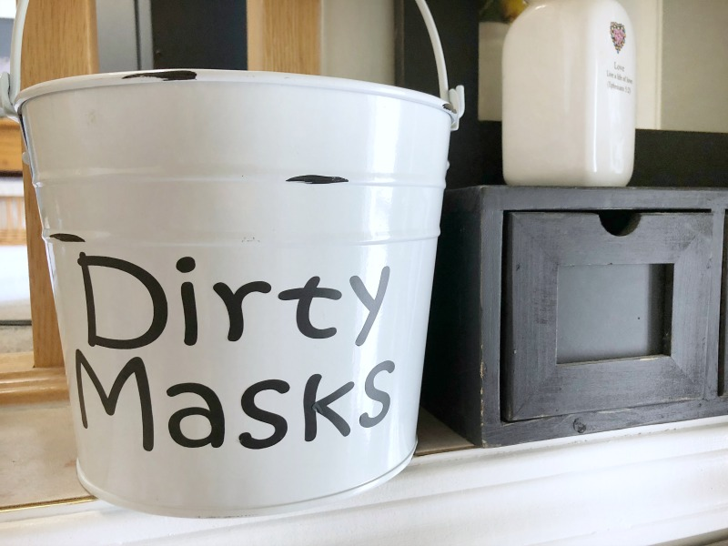 Preparing for Back to School ~ Face Mask Organization - dirty masks bucket