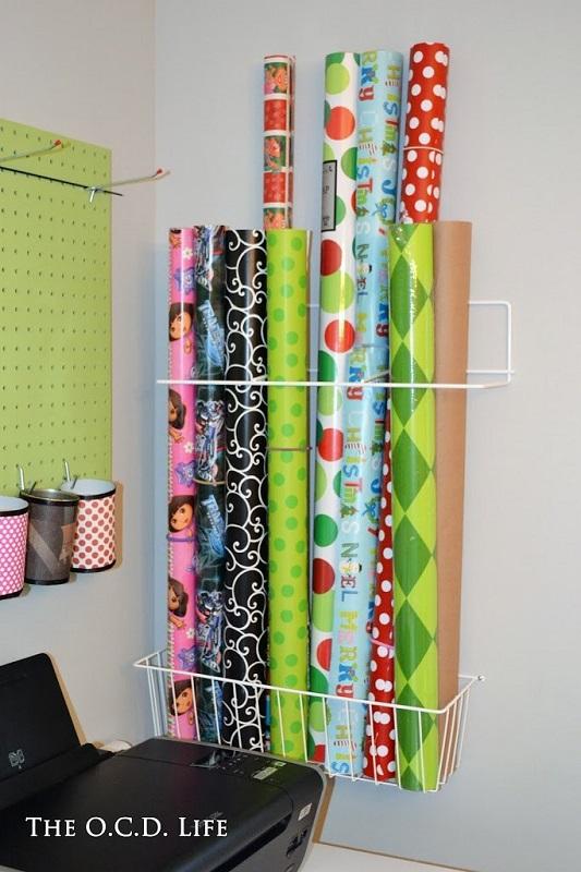 Christmas gift wrap organization