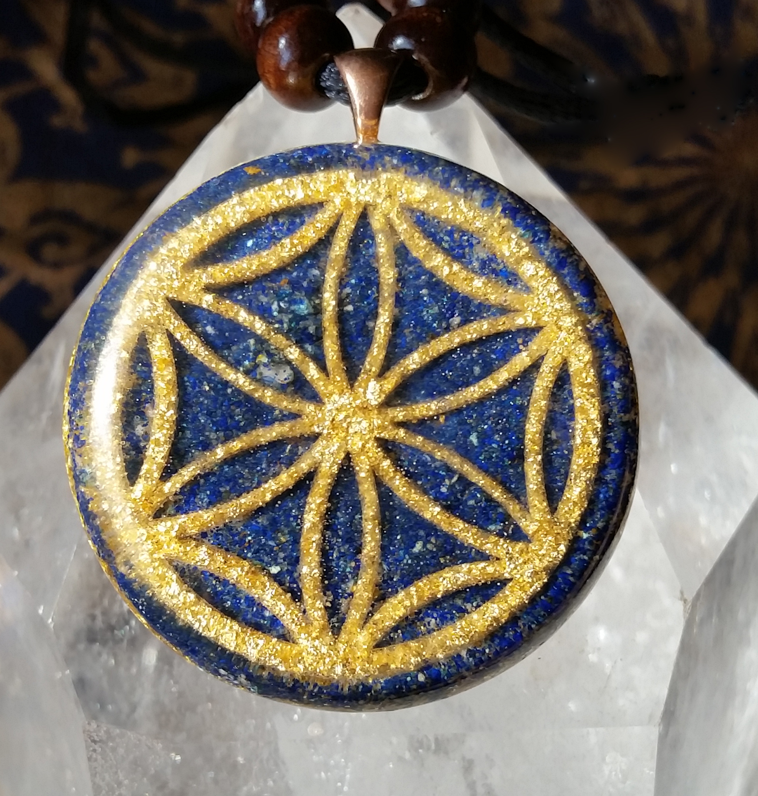 Lapis and Gold Seed of Life Pendant Lapis Background