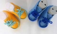Bağcıklı Erkek Bebek Patiği Yapımı 0 – 1 Yaş