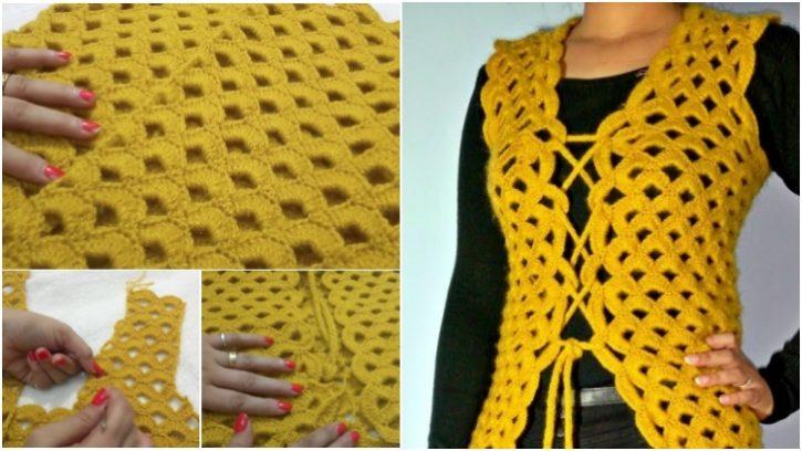 Tığ İşi Sarı Renk Kadın Ceket Modeli Yapılışı