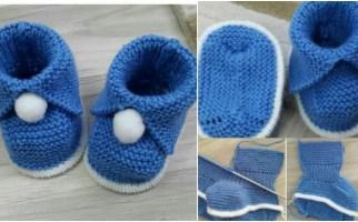 Yapımı Kolay Ponponlu Bebek Patik Modeli