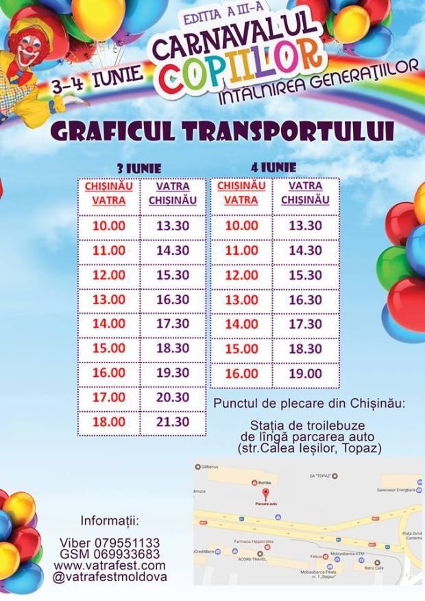 transport carnavalul copiilor