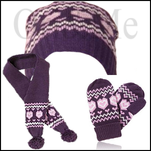 Violet Mittens, Scarf and Hat