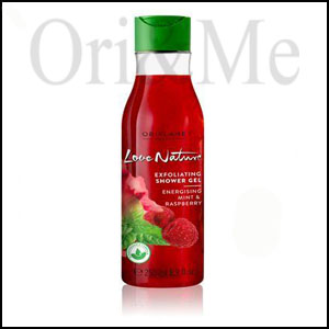 Love Nature Exfoliating Shower Gel Energising Mint & Raspberry
