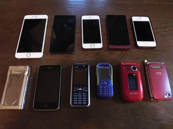 歴代使用の携帯電話たち