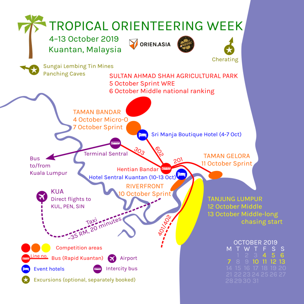 Tropical Orienteering Week has 8 races from 4 to 13 October