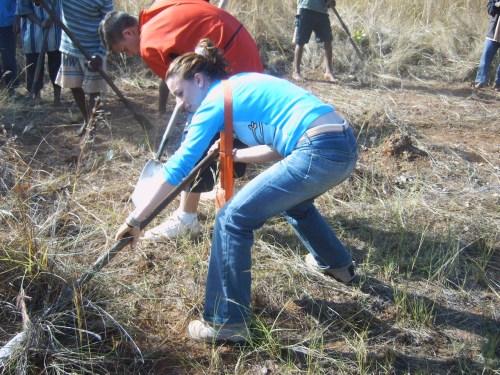 Maribel quitando las raices de los árboles