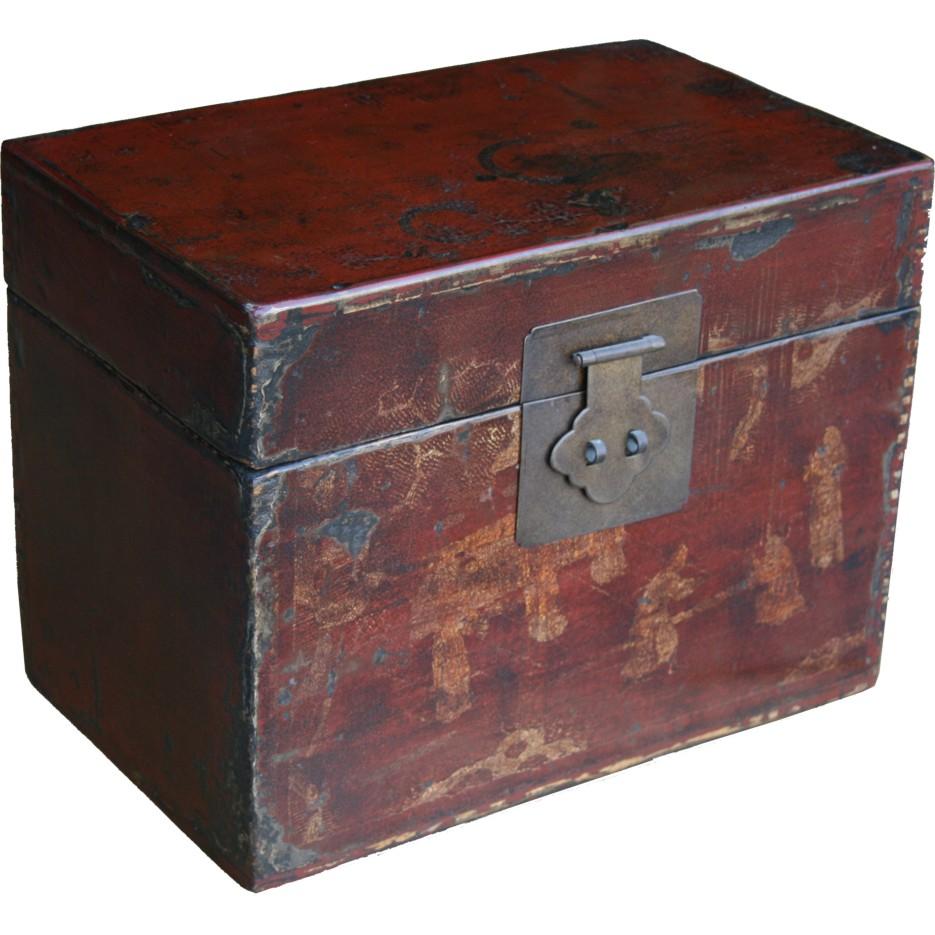 Chinese Storage Box Gilt Red Painted