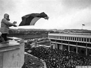 A demonstration in front of Parliament building, Vilnus, January 14, 1991