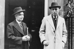 Prime Minster Jawaharlal Nehru with Girja Shankar Bajpai at 10 Downing Street, London. Photo:The Hindu Archives