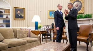 President Barack Obama talks with Prime Minister Arseniy Yatsenyuk of Ukraine at the conclusion of their bilateral meeting in the Oval Office, March 12, 2014.