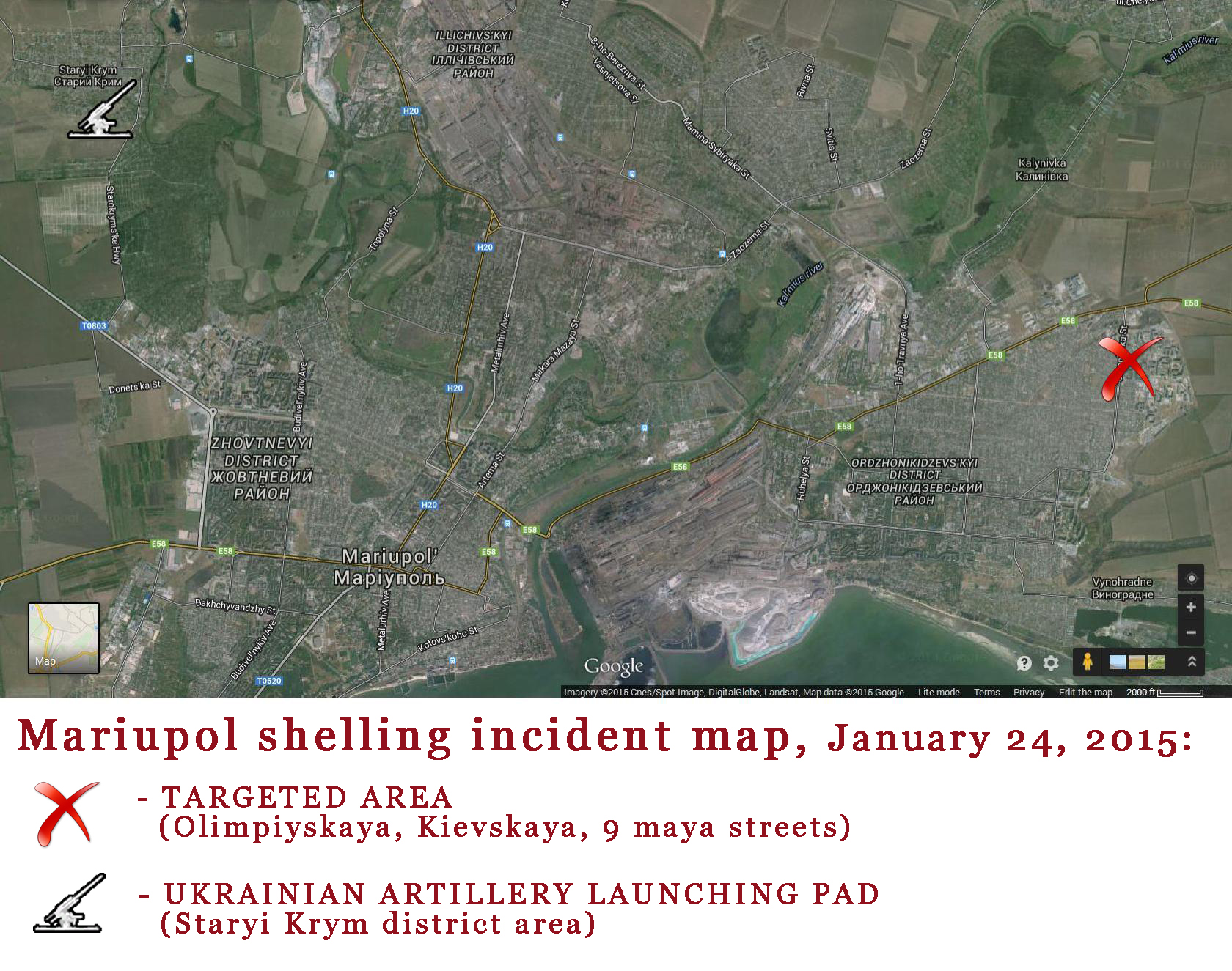 Mariupol shelling map