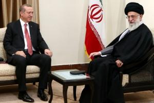 Iranian Supreme leader Ayatollah Ali Khamenei (R) meeting with Turkish President Recep Tayyip Erdogan (L) in Tehran on April 7, 2015