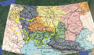 """Modern Ukraine outlined in Yellow. Note how it was a mixture of Polish, Hapsburg, ethnic Russian, and """"Little Russian"""" (Ukrainian) lands back in 1896."""