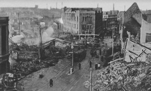 Centre of Coventry, UK after German air raid, November 1940