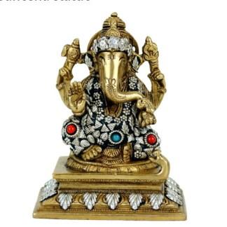 Ganesha Statue Messing farbige Steine
