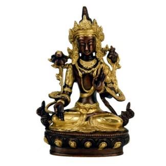 Weiße Tara Statue Messing goldfarben W9421