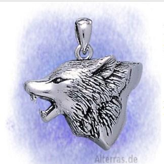 Anhänger Wolfskopf aus 925-Silber