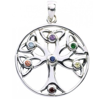 Anhänger Baum des Lebens mit 7 farbigen Zirkonia Silber 925